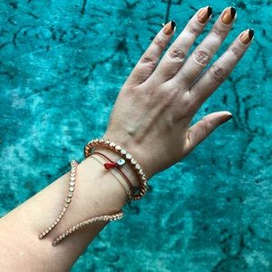 Ryan Storer Crystal and Rose Gold Wrap Bracelet